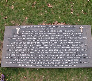 7 July Memorial - Image: Plaque at 7 7 2005 bombings memorial, Hyde Park geograph.org.uk 1757634