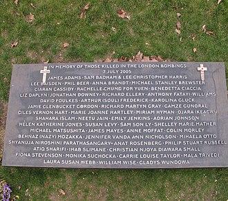 7 July Memorial - Image: Plaque at 7 7 2005 bombings memorial, Hyde Park geograph.org.uk 1757634