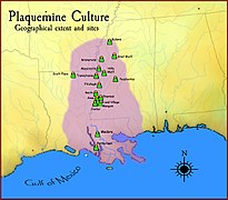 Plaquemine culture map HRoe 2010