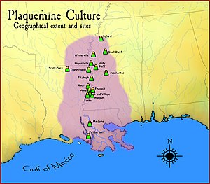 Plaquemine culture - A map showing the geographical extent of the Plaquemine cultural period and some of its major sites.