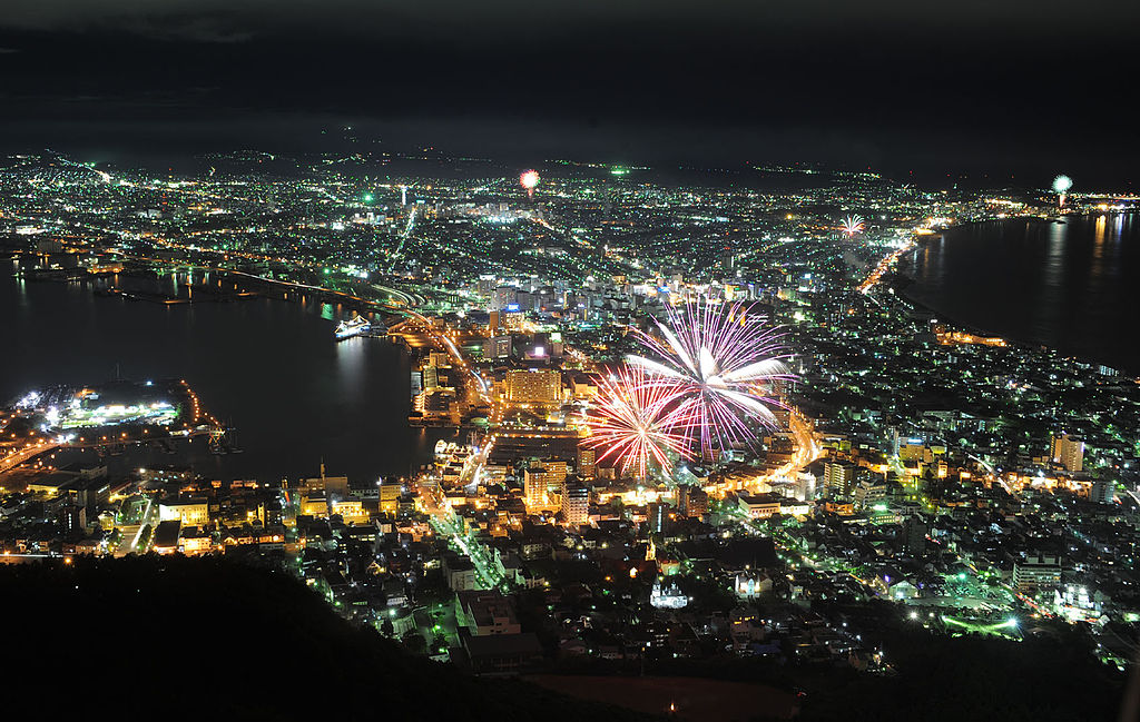Play of fireworks and night scenes in Hakodate