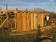 a pole barn under construction