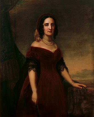 Sarah Childress Polk - Copy of Polk's Official Portrait, by George Dury
