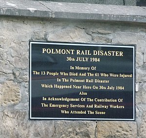 Polmont rail accident - Memorial plaque at Polmont station