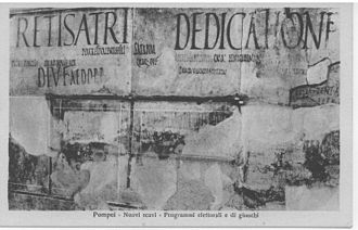 Edward Catich - Photograph taken c. 1920 shows graffiti from Pompeii with painted Roman square capitals. Most of the graffiti was destroyed during World War II.