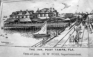 History of Tampa, Florida - Henry Plant's Port Tampa Inn. Note rail line in front of hotel
