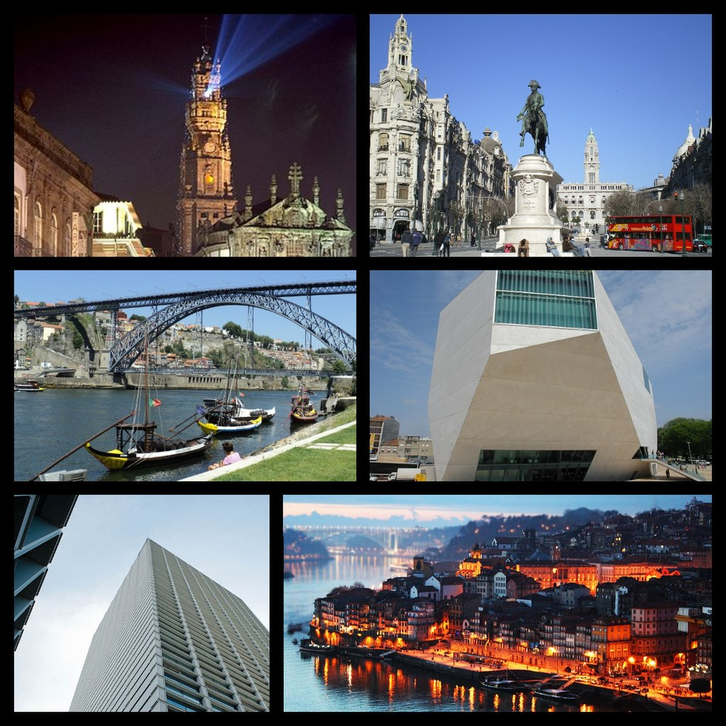 From the top left corner clockwise: Clérigos Church and Tower; Avenida dos Aliados; Casa da Música concert hall; Ribeira district; Avenida da Boavista business hub; Luiz I bridge and Porto from Vila Nova de Gaia