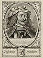 Portret van Dirk VII, graaf van Holland. Hij draagt een hoofddeksel en heeft een snor. De omlijsting is versierd met het wapen van Holland. NL-HlmNHA 1477 53012907.JPG