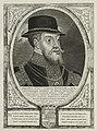 Portret van Filips II, koning van Spanje. Op het hoofd een hoed met veren en om zijn hals een keten met het ordeteken van de orde van het gulden vlies. De omlijsting is versierd met het wape, NL-HlmNHA 1477 53012929.JPG