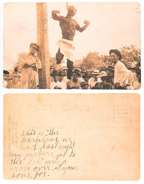 File:Postcard of the lynched Will Stanley front and back.jpg