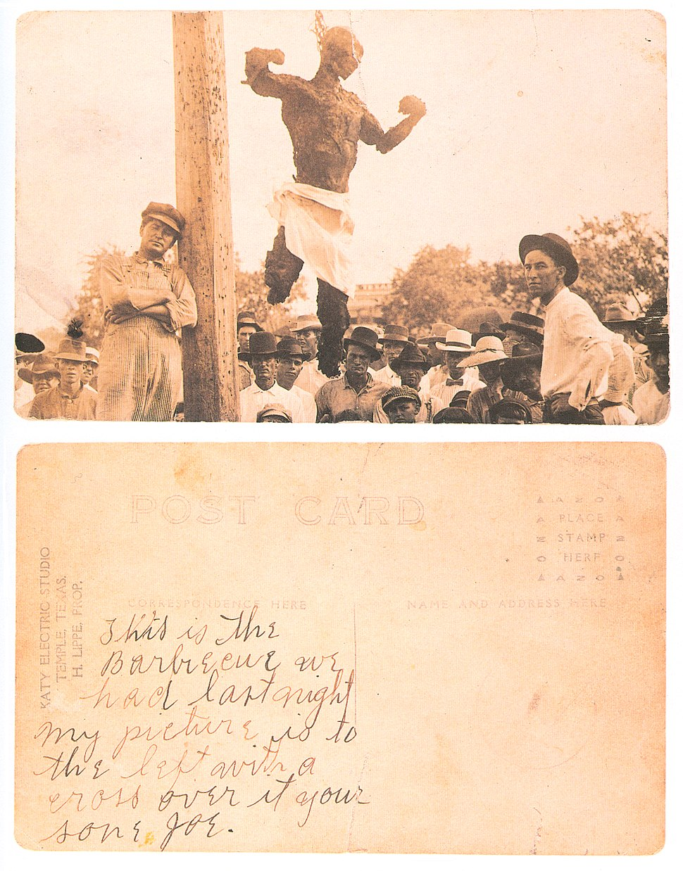 Postcard of the lynched Will Stanley front and back