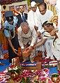 Pranab Mukherjee laying the foundation stone for Atal Bihari Vajpayee Hindi University, at Bhopal, in Madhya Pradesh. The Governor, Madhya Pradesh, Shri Ram Naresh Yadav and the Chief Minister of Madhya Pradesh.jpg