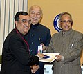 Pranab Mukherjee presenting the medal to the Union Minister for Housing & Urban Poverty Alleviation, Shri Ajay Maken, at the Medal Ceremony organized by the Office of the Registrar General & Census Commissioner, India.jpg