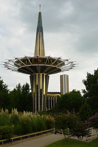 "Tulsa is sometimes considered the ""buckle of the Bible Belt""; it is the home of Oral Roberts University and the university's Prayer Tower. Prayer Tower on the campus of Oral Roberts University.jpg"