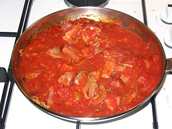 Amatriciana sauce is a traditional Italian pasta sauce based on guanciale (cured pork cheek), pecorino cheese, and tomato.