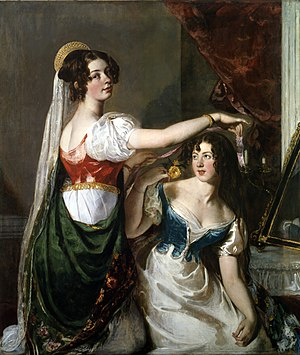 York Art Gallery - Image: Preparing for a Fancy Dress Ball by William Etty YORAG 2009 6