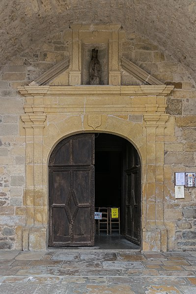 Portal of the present church in Peyrusse-le-Roc, Aveyron, France