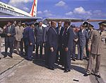 President Kennedy, Vice President Johnson and Dr. von Braun at Redstone Airfield.jpg