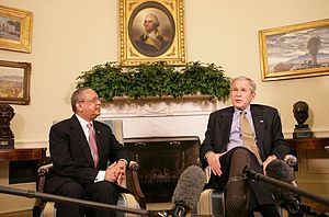Pakistani Americans - Sada Cumber, the First U.S. envoy to the Organization of the Islamic Conference, with then President Bush, Feb. 27, 2008, in the Oval Office.