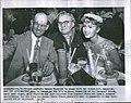 Press photo of R. F. Reynolds, O. Harman, and Debbie Reynolds in 1955 (front).jpg