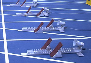 False start - Pressure-sensitive starting blocks at the start line of the 100 metres at the 2007 Pan American Games in João Havelange Olympic Stadium