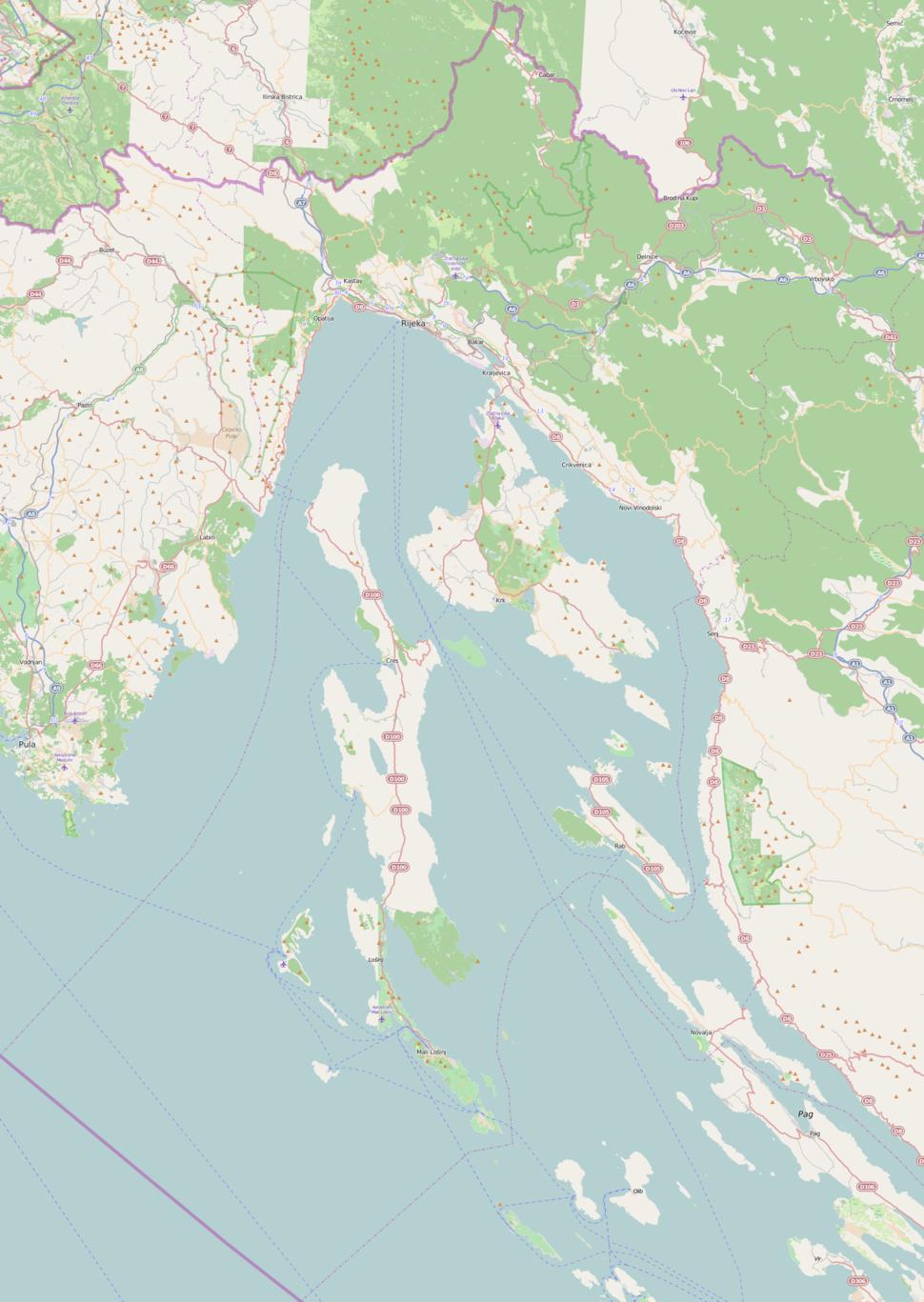 Baška na karti Primorsko-goranska županija