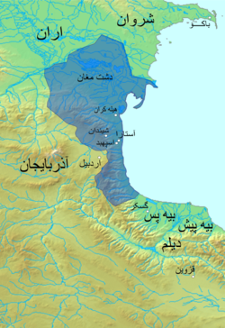 Map of the domains of the Ispahbads of Gilan
