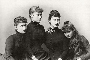 Princess Victoria of Hesse and by Rhine - Four of the Hesse sisters: (left to right) Irene, Victoria, Elisabeth and Alix, 1885