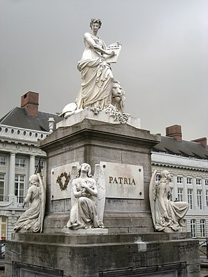"Belgian nationalism - The Pro Patria (""For the Nation"") monument, erected in honour of the Belgian Revolution of 1830, in the Place des Martyrs, Brussels"