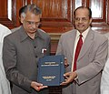 Prof N.R Madhava Menon Presenting the Report of the committee on draft National Policy on Criminal Justice to the Union Home Minister, Shri Shivraj V. Patil in New Delhi on August 01, 2007 (1).jpg
