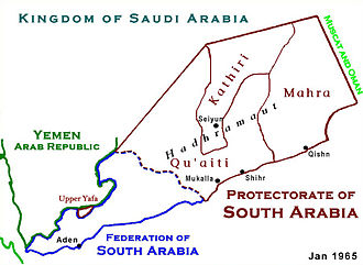 Federation of South Arabia - Map showing both the Federation of South Arabia and the Protectorate of South Arabia.