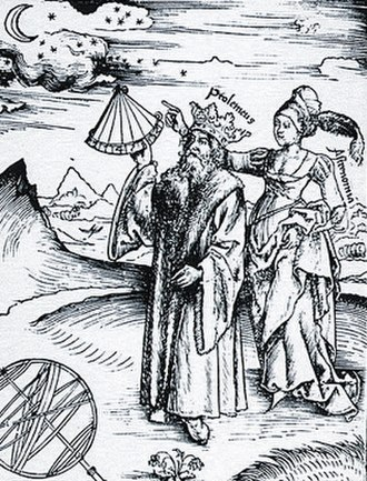Ptolemy - Engraving of a crowned Ptolemy being guided by the muse of Astronomy, Urania, from Margarita Philosophica by Gregor Reisch, 1508. Although Abu Ma'shar believed Ptolemy to be one of the Ptolemies who ruled Egypt after the conquest of Alexander the title 'King Ptolemy' is generally viewed as a mark of respect for Ptolemy's elevated standing in science.