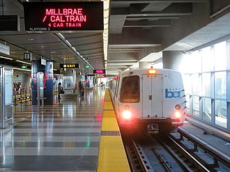 San Francisco International Airport station - SFO–Millbrae line train at the station in 2019