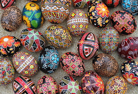 A collection of traditional Ukrainian Easter eggs - pysanky. The design motifs on pysanky date back to early Slavic cultures. Pysanky2011.JPG