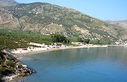 Qeparo village and the bay on the Ionian Sea