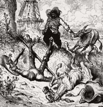 Sidekick - Don Quixote, unsuccessfully confronting a windmill, and his sidekick Sancho Panza in this illustration by Gustave Doré