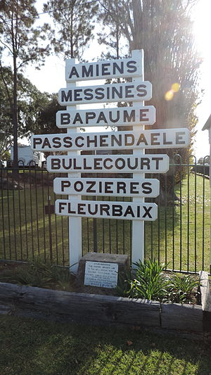 Amiens railway line - Railway station signs for the Amiens railway line serving the Pikedale soldier settlement towns of Amiens, Messines, Bapaume, Passchendaele, Bullecourt, Pozieres, Fleurbaix, now on display at the Stanthorpe Heritage Museum