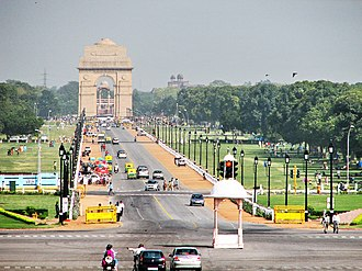 Boulevard - View of Rajpath from Raisina Hill with India Gate at its terminal