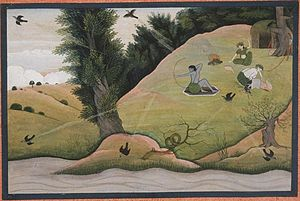 Jayanta - Rama shoots the Brahmastra on Jayanta, disguised as a crow and who is flying here and there to escape the weapon.