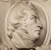 Johann Heinrich Ramberg als Porträtmedaillon über der Südterrasse vom Neuen Rathaus Hannover (Quelle: Wikimedia)