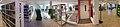 Rana bibliotek, biblioteket ved Nord universitet, Torggata 1A, Mo i Rana, Norway 2017-10-09 – library interior first floor, book shelves, elevator, etc. – distorted panorama d.jpg