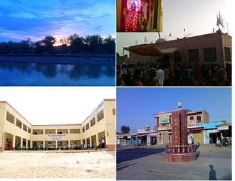Rawla Mandi - Clockwise from top: Sunset view on canal, Baba Ramdev Temple during a fair, Rawla Mandi 's first college M J Kumheriya college, Shaheed Smarak (Martyr's memorial) at Rojhri Chowk; it is built in the memory of persons who died during farmer's movement in 2004