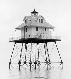 Rebecca Shoal Light - The Rebecca Shoal Lighthouse after it was automated, with the lower landing decks removed.
