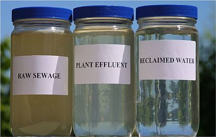 Sequence of reclamation from left: raw sewage, plant effluent, and finally reclaimed water (after several treatment steps) Reclaimed Water Jars.jpg