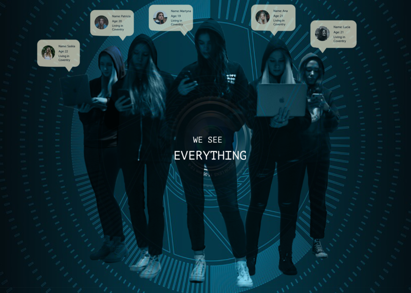 File:Remix Surveillance.png Description English: We are all connected in the digital world. Our digital footprint makes us recognisable on the web even if we feel anonymous. We are watched at every step we are taking. The web builds a picture of us with the information we provide it with.