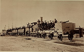 RBL 40 pounder Armstrong gun - 40 Pounder mounted on an armed train, for naval and military operations in Egypt, 1882