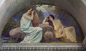 Lunette - Charles Sprague Pearce, Rest (1896). Mural in a lunette in the Library of Congress Thomas Jefferson Building, Washington, D.C.