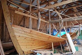 Restauration (ship) - Replica of Restauration under construction at Finnøy, Norway