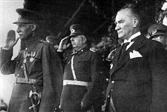 Iran–Turkey relations - Turkish President Mustafa Kemal Atatürk (right) with Reza Pahlavi I, the Shah of Iran (left) in Ankara, 1934.
