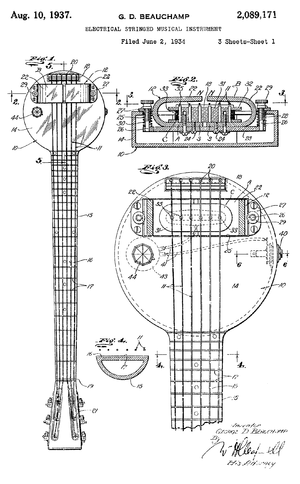 "Electric guitar design - Sketch of Rickenbacker ""frying pan"" lap steel guitar from 1934 patent application."